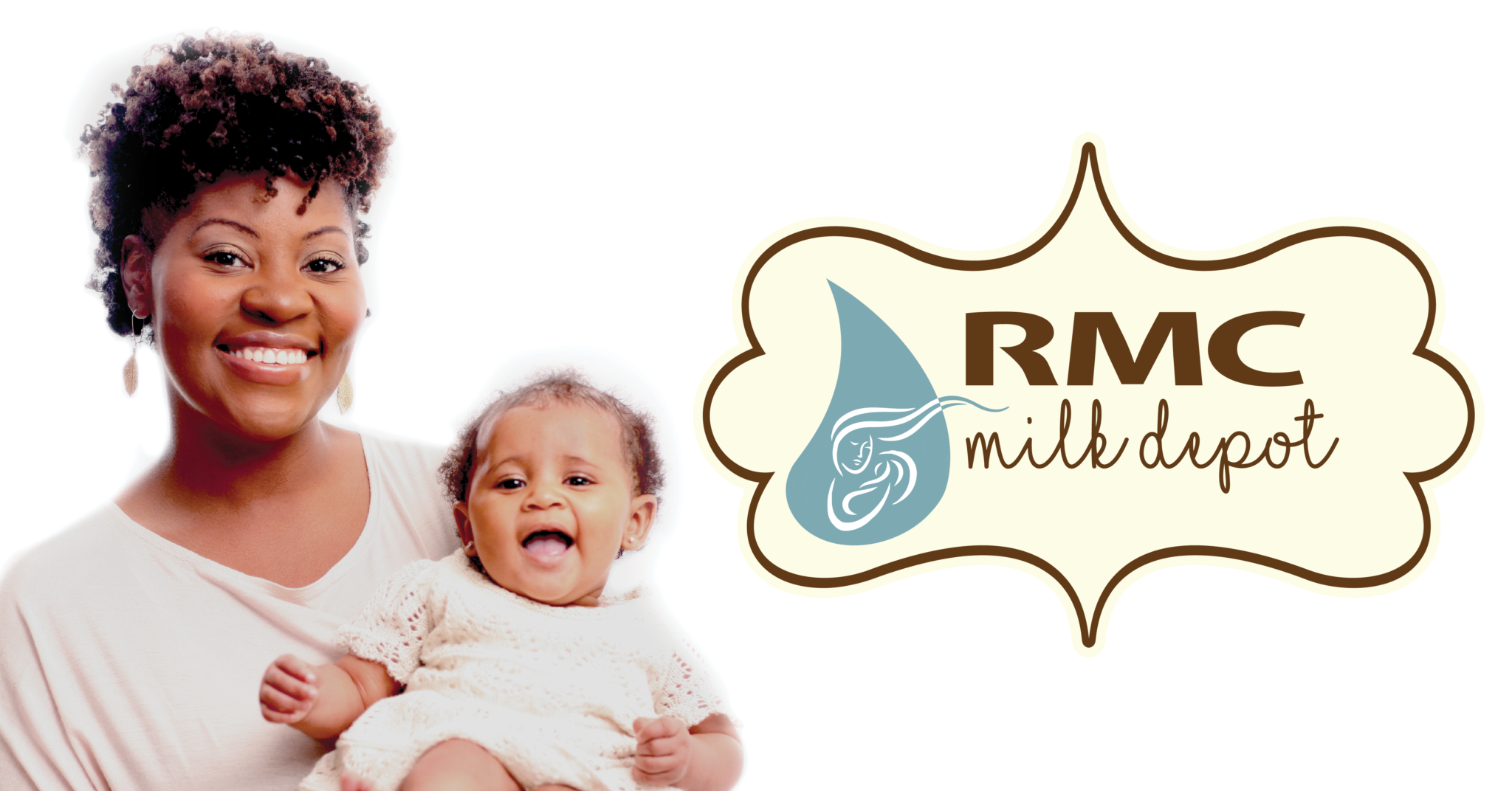 Woman holding her infant next to RMC Milk Drop logo